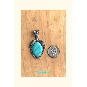 Vintage Turquoise & Sterling Silver Pendant